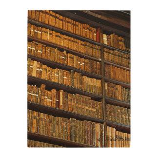 Pared de la biblioteca impresión en madera