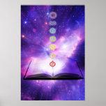Pared de la púrpura de los símbolos de los chakras poster