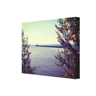 Pared de la rotura del lago Superior Impresión En Tela