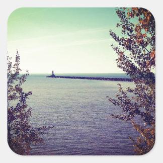 Pared de la rotura del lago Superior Pegatina Cuadradas
