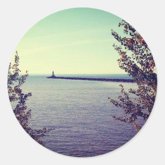 Pared de la rotura del lago Superior Etiqueta Redonda