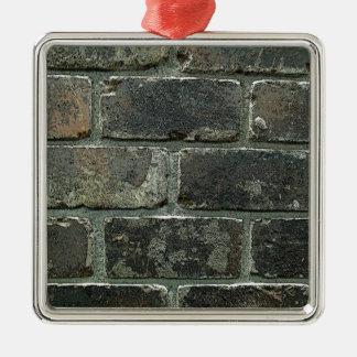 Pared de ladrillo adorno navideño cuadrado de metal