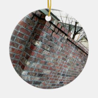 Pared de ladrillo adorno navideño redondo de cerámica