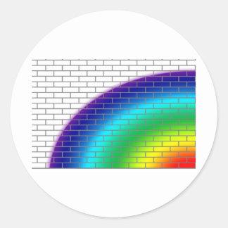pared de ladrillo con colores del arco iris pegatina