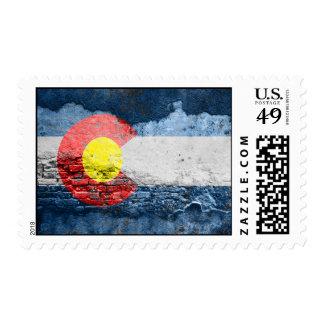 pared de ladrillo de la bandera de Colorado Estampilla