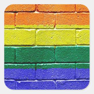 Pared de ladrillo del arco iris