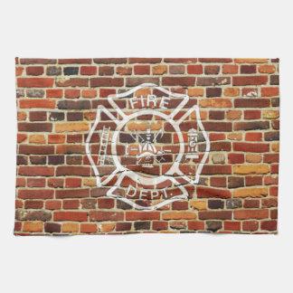Pared de ladrillo del logotipo del bombero toallas de cocina