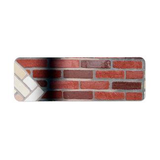 pared de ladrillo etiqueta de remite