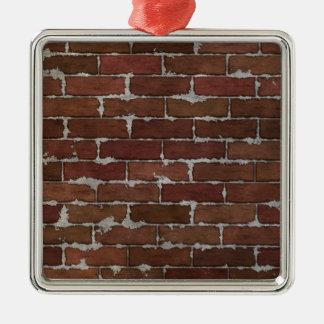 Pared de ladrillo roja adorno navideño cuadrado de metal