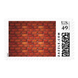 Pared de ladrillo roja timbres postales