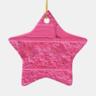 Pared de ladrillo rosada adorno de cerámica en forma de estrella