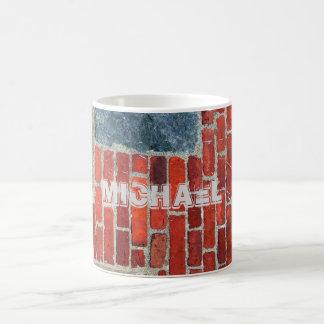 Pared de ladrillo rústica personalizada taza clásica