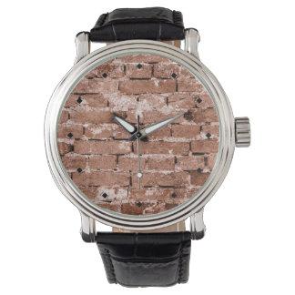 Pared de ladrillo vieja reloj