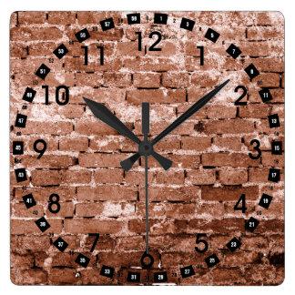 Pared de ladrillo vieja reloj cuadrado
