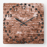 Pared de ladrillo vieja relojes de pared