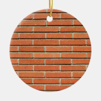 Pared de ladrillos adorno navideño redondo de cerámica