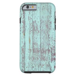 Pared de madera vieja de la pintura azul funda para iPhone 6 tough
