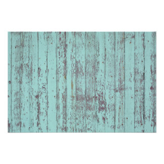 Pared de madera vieja de la pintura azul póster