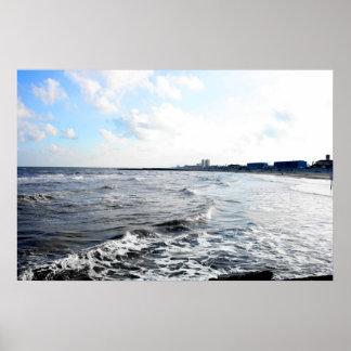 Pared de mar de Galveston Póster
