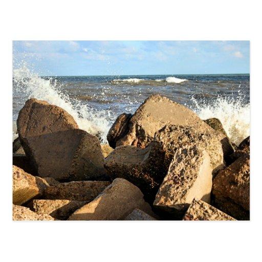 Pared de mar de Galveston Tarjetas Postales