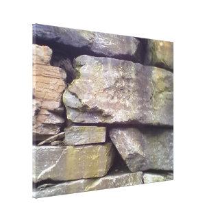 Pared de piedra impresión en lona