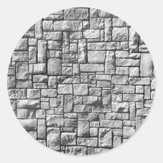 Pared de piedra pegatina redonda