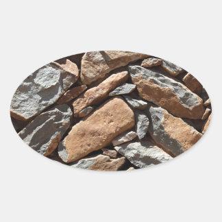 Pared de piedra seca pegatina ovalada