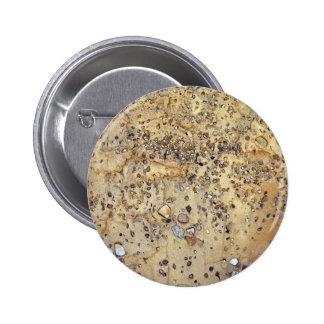 Pared del cemento entremezclada con las piedras chapa redonda 5 cm