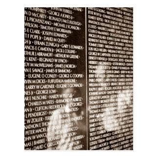 Pared del monumento de los veteranos de Vietnam de Postal