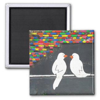 pared del pájaro del ladrillo: pared de la pintada imán cuadrado
