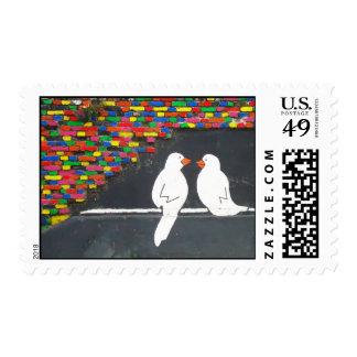 pared del pájaro del ladrillo: pared de la pintada sellos