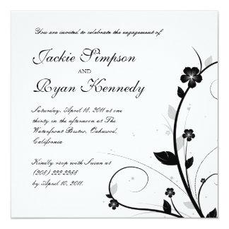 Pared floral 2 de la invitación negra y blanca del invitación 13,3 cm x 13,3cm