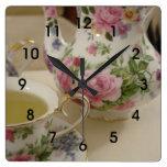 Pared floral inglesa Clcok de la taza de té de la  Reloj Cuadrado