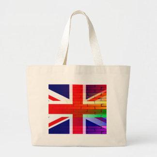 Pared gay Union Jack del arco iris Bolsa Tela Grande