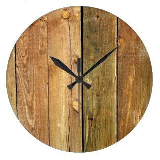 Pared hecha de tablones de madera del pino - Brown Reloj De Pared