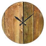 Pared hecha de tablones de madera del pino - Brown Reloj Redondo Grande
