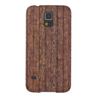 Pared hecha de tablones de madera viejos - Brown d Carcasa Para Galaxy S5