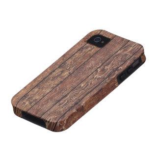 Pared hecha de tablones de madera viejos - Brown Case-Mate iPhone 4 Carcasas