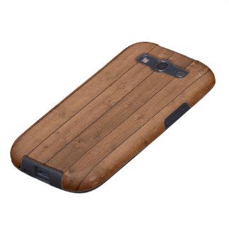 Pared hecha de tablones de madera viejos - Brown Galaxy S3 Cárcasas