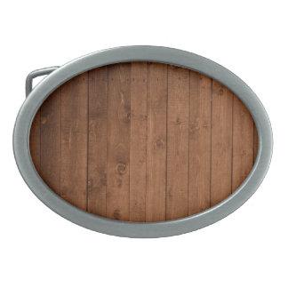 Pared hecha de tablones de madera viejos - Brown Hebilla De Cinturón Oval