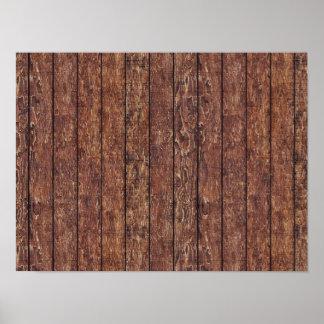 Pared hecha de tablones de madera viejos - Brown Póster
