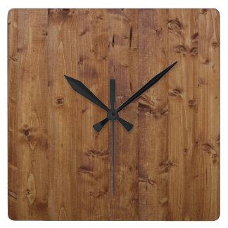 Pared hecha de tablones de madera viejos - Brown Reloj Cuadrado