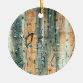 Pared interior de la escalada adorno navideño redondo de cerámica