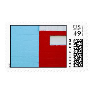 Pared roja, blanca, y azul - sello