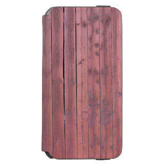 Pared roja vieja del granero del plankd funda billetera para iPhone 6 watson