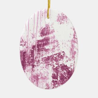 Pared sucia, rosada adorno ovalado de cerámica