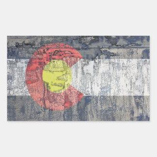 pared texturizada bandera de Colorado Pegatina Rectangular