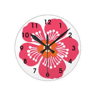 Pared tropical rosada Clcok de la flor Reloj Redondo Mediano