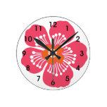 Pared tropical rosada Clcok de la flor Relojes