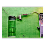 Pared verde abstracta poster